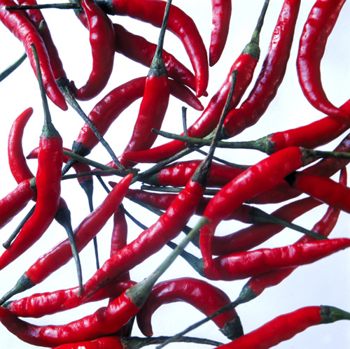 'Chillis', 3 panels vinyl translucent images, 68cm X 180 cm each. 10mm toughened glass with image laminated to rear. Mounted 15 mm off a painted MDF substrate.