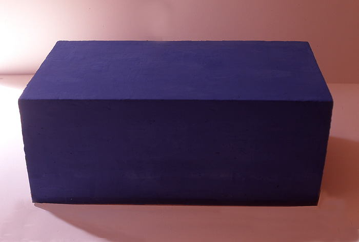 'Blue Soap', Soap sculpture made from casteel soap base, ultramarine blue paint and t-tree oil. Weighs 8 kilos, 65cm wide X 38cm across. 33cm deep