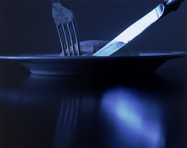 'Knife & Fork II', Photographic Lambdachrome print, acrylic mounted, 56 x 70 cm