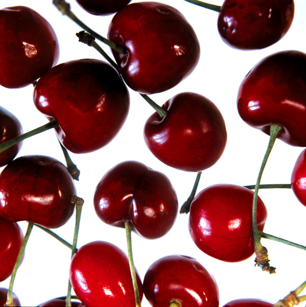 'Cherries', 3 panels vinyl translucent images, 68cm X 130 cm each. 10mm toughened glass with image laminated to rear. Mounted 15 mm off a painted MDF substrate.