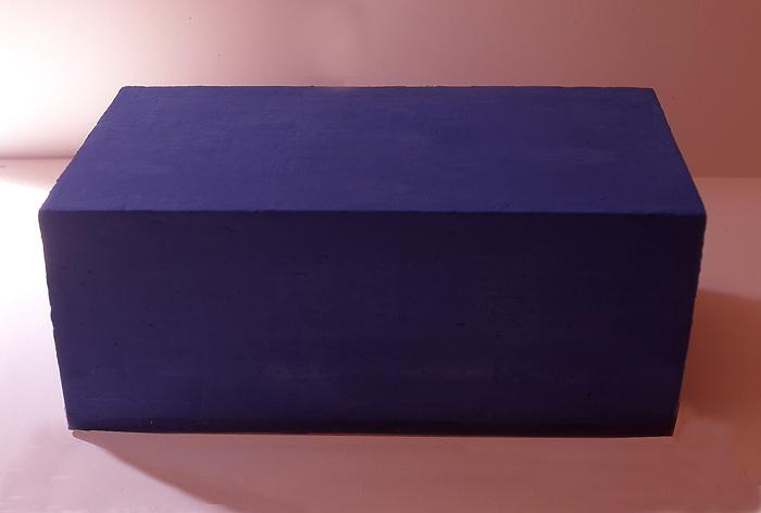 'Blue Soap', Soap sculpture made from casteel soap base, ultramarine blue paint and t-tree oil. Weighs 8 kilos, 65cm wide X 38cm across. 33cm deep