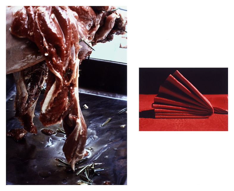 'How to Butterfly a Leg of Lamb IV' , Diptych: two Cibachrome colour prints each individually mounted on alluminium under acrylic glass, 64 x 80 cm