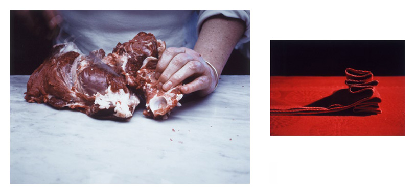 'How to Butterfly a Leg of Lamb II' , Diptych: two Cibachrome colour prints each individually mounted on alluminium under acrylic glass, 64 x 80 cm