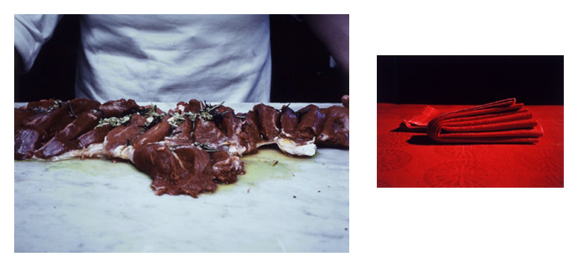 'How to Butterfly a Leg of Lamb III' , Diptych: two Cibachrome colour prints each individually mounted on alluminium under acrylic glass, 64 x 80 cm